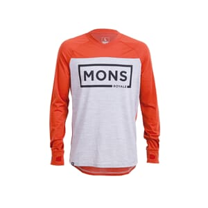 Mons Royale Redwood  V LS Box Logo Burnt Orange Grey Marl